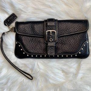 Coach black wristlet clutch leather silver buckle